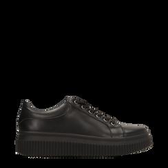 Sneakers nere effetto mirror e suola nera, Scarpe, 129312321EPNERO, 001a