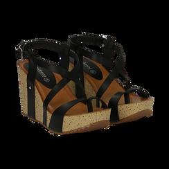 Sandali platform neri in eco-pelle, zeppa in sughero 9 cm , Primadonna, 134901921EPNERO036, 002 preview