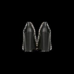 Décolleté nere con punta affusolata, tacco 9 cm, Scarpe, 128485101EPNERO, 003 preview