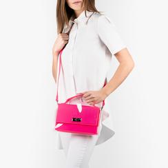 Mini bag fucsia in vernice e pvc, NUOVI ARRIVI, 155122209VEFUCSUNI, 002a