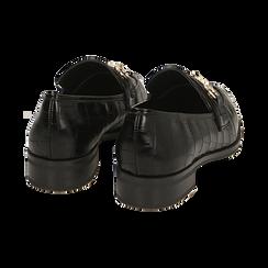Mocasines negros con estampado de cocodrilo, Primadonna, 164964141CCNERO037, 004 preview