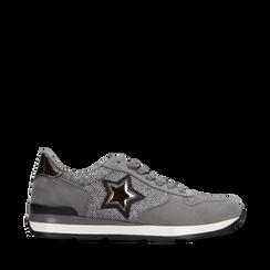 Sneakers grigie dettagli glitter , Primadonna, 121308201LMGRIG035, 001a