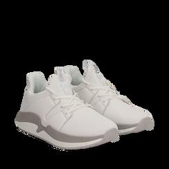 Sneakers bianche in tessuto tecnico e suola wave, Scarpe, 132619310TSBIAN035, 002a