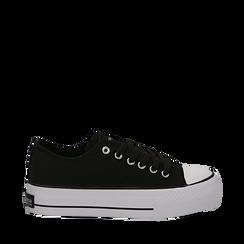 Sneakers bianche in canvas, platform 4 cm, Scarpe, 132619385CANERO035, 001a