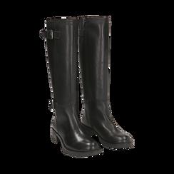 Stivali con fibbie neri in pelle, tacco 4 cm , Scarpe, 146262002PENERO035, 002 preview