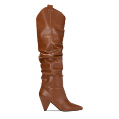 Stivali cuoio sopra il ginocchio, tacco cono 8 cm, Scarpe, 124995700EPCUOI036, 001a