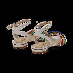 Sandali flat multilistino bianchi in eco-pelle, Scarpe, 132174722EPBIAN036, 004 preview