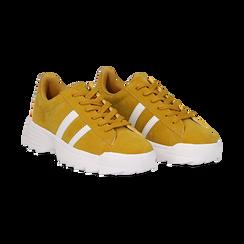 Dad shoes gialle in microfibra stile vintage Seventies, Scarpe, 130101211MFGIAL036, 002 preview