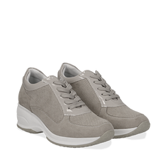 Sneakers grigie in microfibra con profili in vernice, zeppa 4,50 cm, Scarpe, 132899053MFGRIG036, 002a