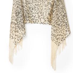 Poncho leopard marrone in tessuto laminato, Abbigliamento, 13B445077TSLEMAUNI, 002a