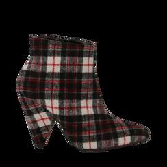 Tronchetti in tessuto tartan, tacco a cono 10,5 cm, 12A403930TSNERS036, 001a