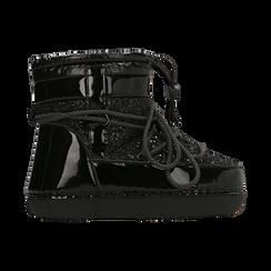 Scarponcini da neve neri dettagli in vernice e glitter, Scarpe, 124106721GLNERO037, 001 preview