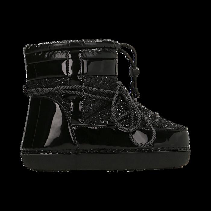 Scarponcini da neve neri dettagli in vernice e glitter, Scarpe, 124106721GLNERO037