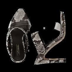 Sandali con punta affusolata nero/bianchi in eco-pelle, listino in pvc, tacco 11 cm, Sandali con tacco, 131732601PTNEBI035, 003 preview
