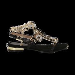 Sandali gioiello flat neri in microfibra, Primadonna, 134994222MFNERO, 001 preview