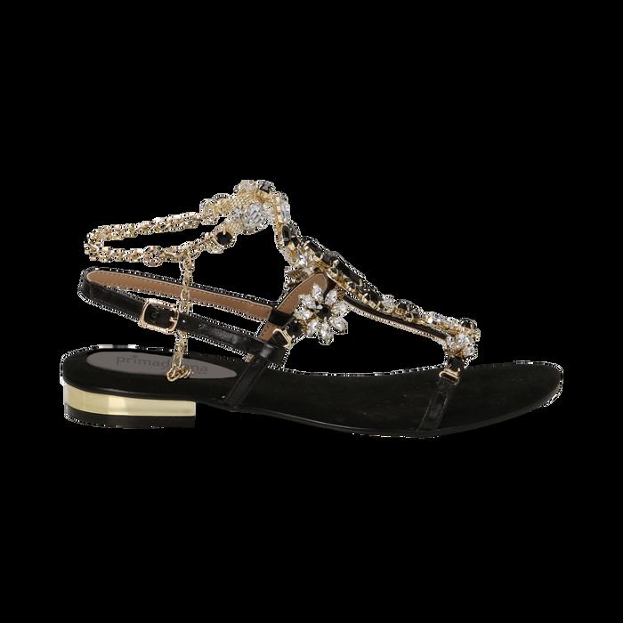 Sandali gioiello flat neri in microfibra, Primadonna, 134994222MFNERO