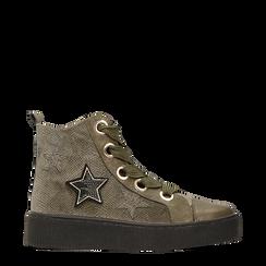 Sneakers verdi in velluto con stelle, Scarpe, 121617684VLVERD, 001a