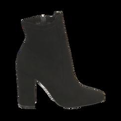 Ankle boots neri in microfibra, tacco 9,5 cm , Stivaletti, 142166061MFNERO035, 001 preview