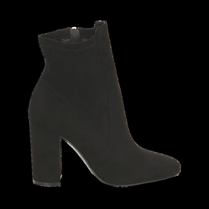 Ankle boots neri in microfibra, tacco 9,5 cm , Stivaletti, 142166061MFNERO035