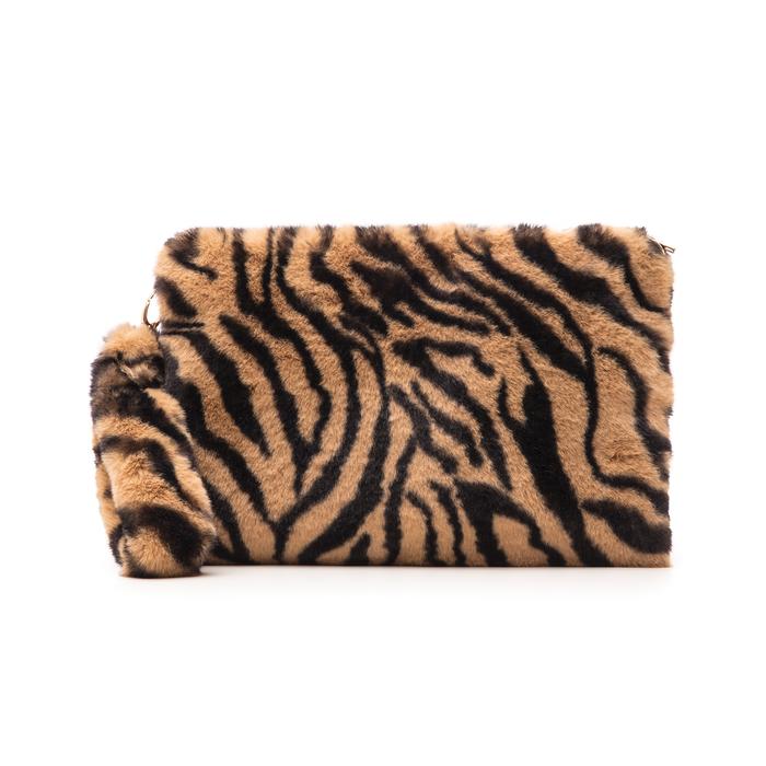 Pochette tigrata in eco-fur, Borse, 14B443016FUTIGRUNI