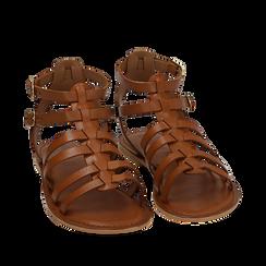 Sandali cuoio in pelle, Chaussures, 156707420PECUOI035, 002a