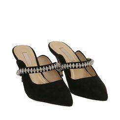 Sabot gioiello neri in microfibra, tacco 8 cm , Scarpe, 172119085MFNERO035, 002a