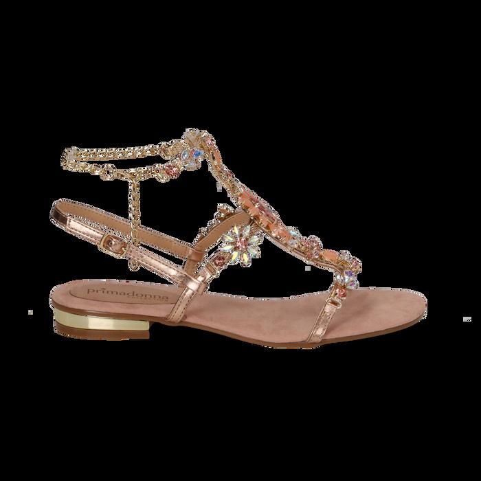 Sandali gioiello flat nude in microfibra, Primadonna, 134994222MFNUDE035