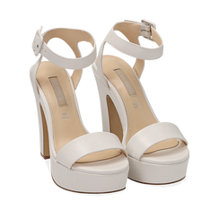 Sandali bianchi in eco-pelle, tacco 12,50 cm , Chaussures, 158480410EPBIAN036, 002a