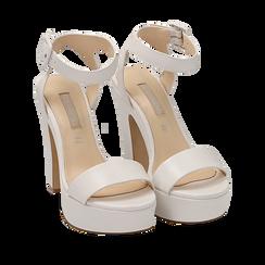Sandali bianchi in eco-pelle, tacco 12,50 cm , Primadonna, 158480410EPBIAN035, 002a