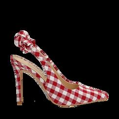Décolleté Slingback bianco/rosse in tessuto Vichy, tacco 10,5 cm, Scarpe, 132167260TSBIRO038, 001a