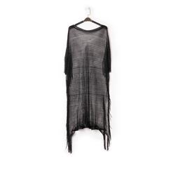 Poncho nero in tessuto laminato , Abbigliamento, 13B445079LMNEROUNI, 001a