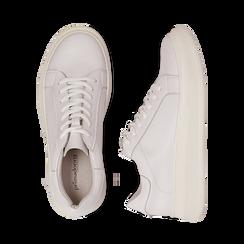 Sneakers bianche in eco-pelle con suola flat, Scarpe, 132019051EPBIAN036, 003 preview