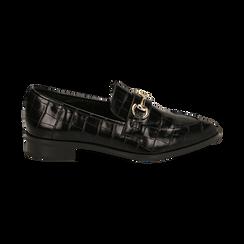 Mocasines negros con estampado de cocodrilo, Primadonna, 164964141CCNERO037, 001 preview