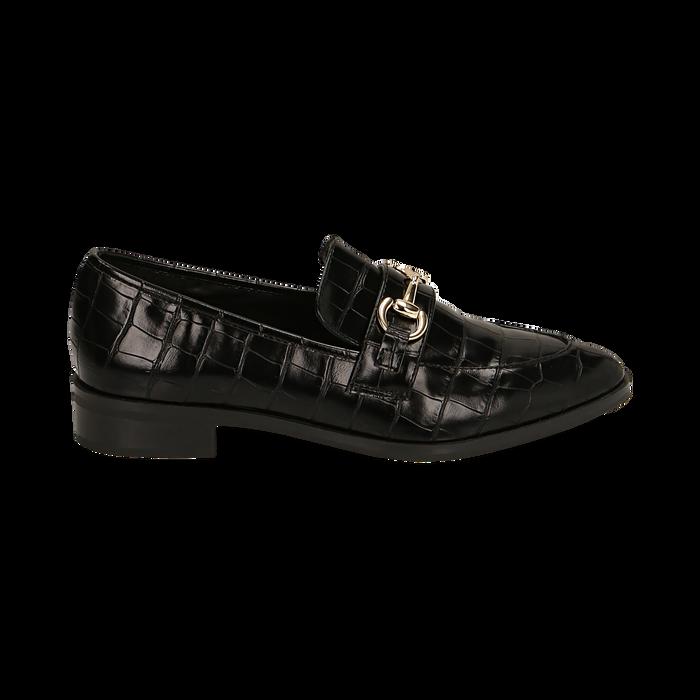Mocasines negros con estampado de cocodrilo, Primadonna, 164964141CCNERO037