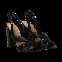Sandali neri in eco-pelle con nodo, tacco 10 cm,
