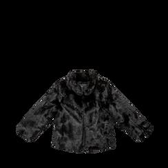Pelliccia nera corta eco-fur, manica lunga, Abbigliamento, 12B432301FUNERO, 001a preview