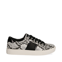 Sneakers bianco/nere in eco-pelle, effetto snake skin, Scarpe, 142619071PTBINE035, 001a