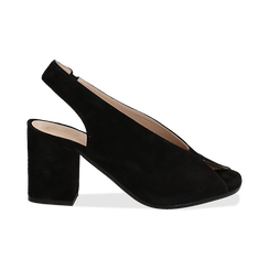 Slingback nere in camoscio, tacco 8 cm , Primadonna, 13D602014CMNERO036, 001 preview