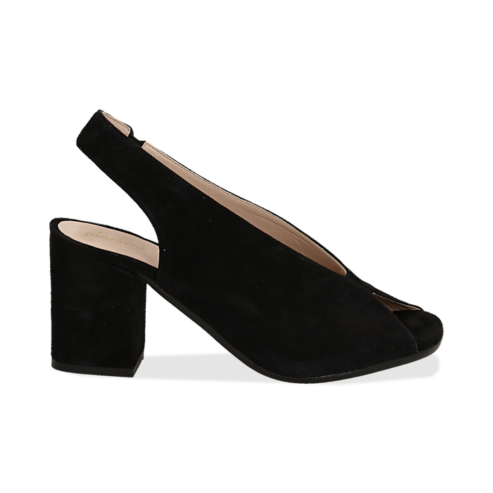 Slingback nere in camoscio, tacco 8 cm , Primadonna, 13D602014CMNERO036