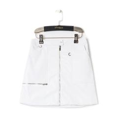 Minigonna bianca in eco-pelle con zip, Abbigliamento, 136501801EPBIANL, 001a