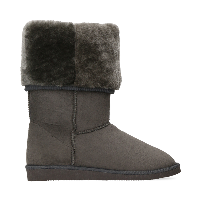 Scarponcini invernali scamosciati grigi con risvolto in eco-fur, Primadonna, 125001204MFGRIG036