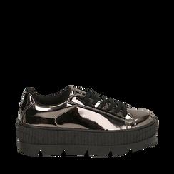 Sneakers platform canna di fucile effetto specchio, zeppa 5 cm, Scarpe, 142618776SPCANN036, 001a