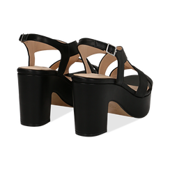 Sandali con plateau neri in eco-pelle, tacco 9 cm , Scarpe, 138402258EPNERO037, 004 preview