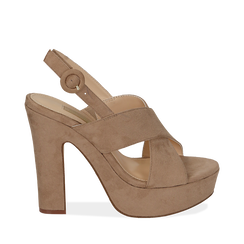 Sandali beige in microfibra, tacco 12,50 cm , Chaussures, 158480412MFBEIG036, 001a