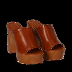 Sandali platform cuoio in eco-pelle, tacco 12 cm , Primadonna, 132177611EPCUOI038, 002a