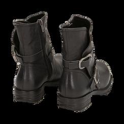 Biker boots neri con fibbie in eco-pelle, Stivaletti, 140721051EPNERO, 004 preview