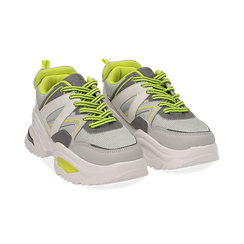 Dad shoes bianche in tessuto tecnico con dettagli fluo, zeppa 6 cm , Scarpe, 14D814101TSBIAN035, 002 preview