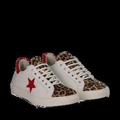 Sneakers bianco/rosse in pelle con pattina leopard, Scarpe, 13C300029PEBIRO035, 002a