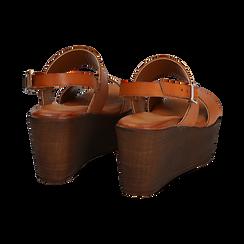 Sandali platform cuoio in eco-pelle, zeppa 8 cm, Saldi, 136700012EPCUOI037, 004 preview