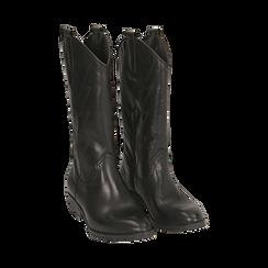 Camperos neri in pelle, tacco 4 cm , Primadonna, 168900020PENERO037, 002 preview